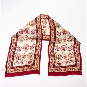 Vintage Oscar de la Renta Silk Red Scarf Shawl